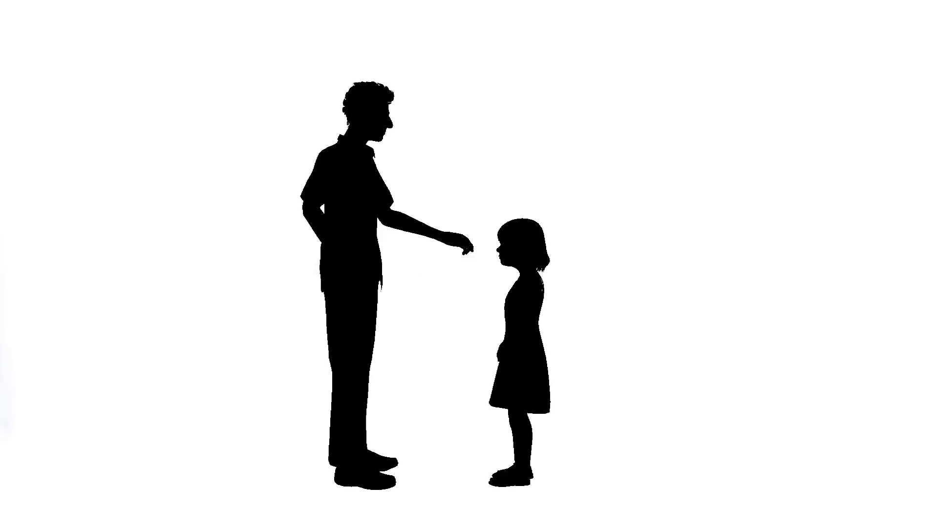 1920x1080 Man Talking To Little Girl Silhouette On White Background Motion