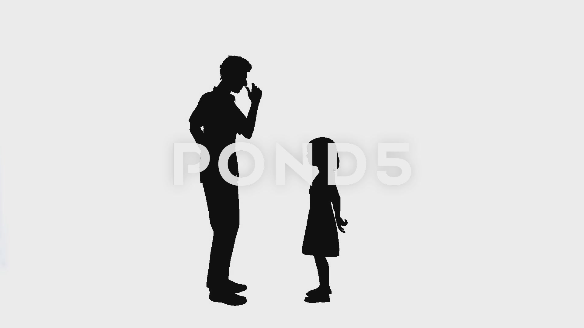 1920x1080 Man Talking To Little Girl Silhouette On White Background ~ Clip