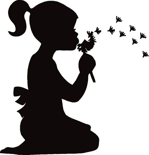 570x593 Girl Blowing Dandelion Flower Petals Wish Retro.svg Eps Instant