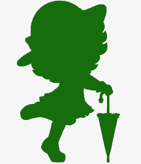 557x650 Take Green Umbrella Little Girl Silhouette, Little Girl, Green