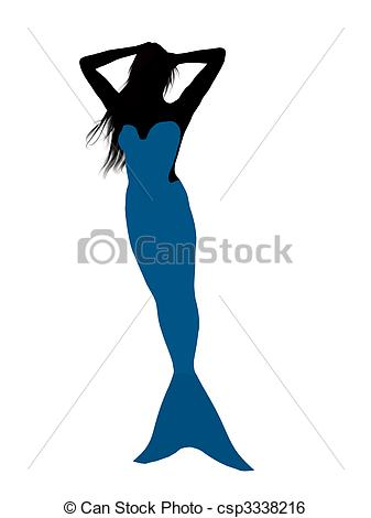 337x470 Little Mermaid Silhouette Illustration. Little Mermaid Stock