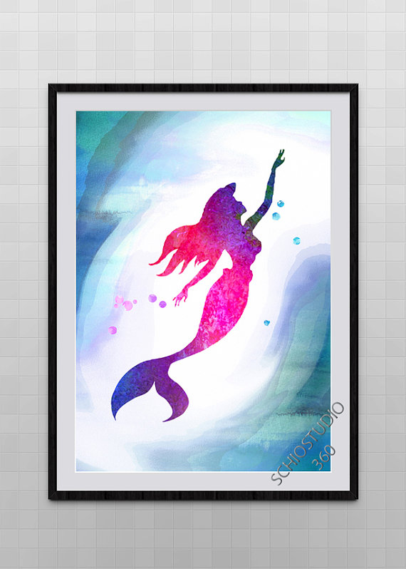 570x798 Little Mermaid Watercolor Painting Archival Fine Art Wall