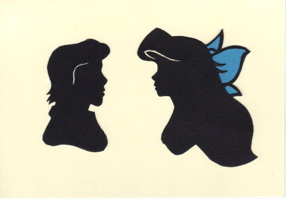 570x397 Ariel And Eric Silhouettes By Littleredpanda93 On Etsy,