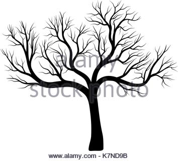 354x320 Silhouette Bare Oak Tree Icon Stock Vector Art Amp Illustration