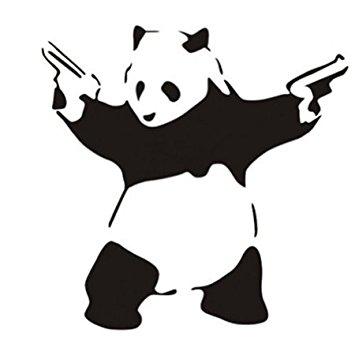 355x355 23.6' X 45.3' Large Cool Crazy Panda Gun Shooting Wall