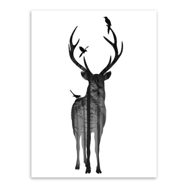 600x600 Modern Nordic Black White Animal Silhouette Deer Art Print Poster