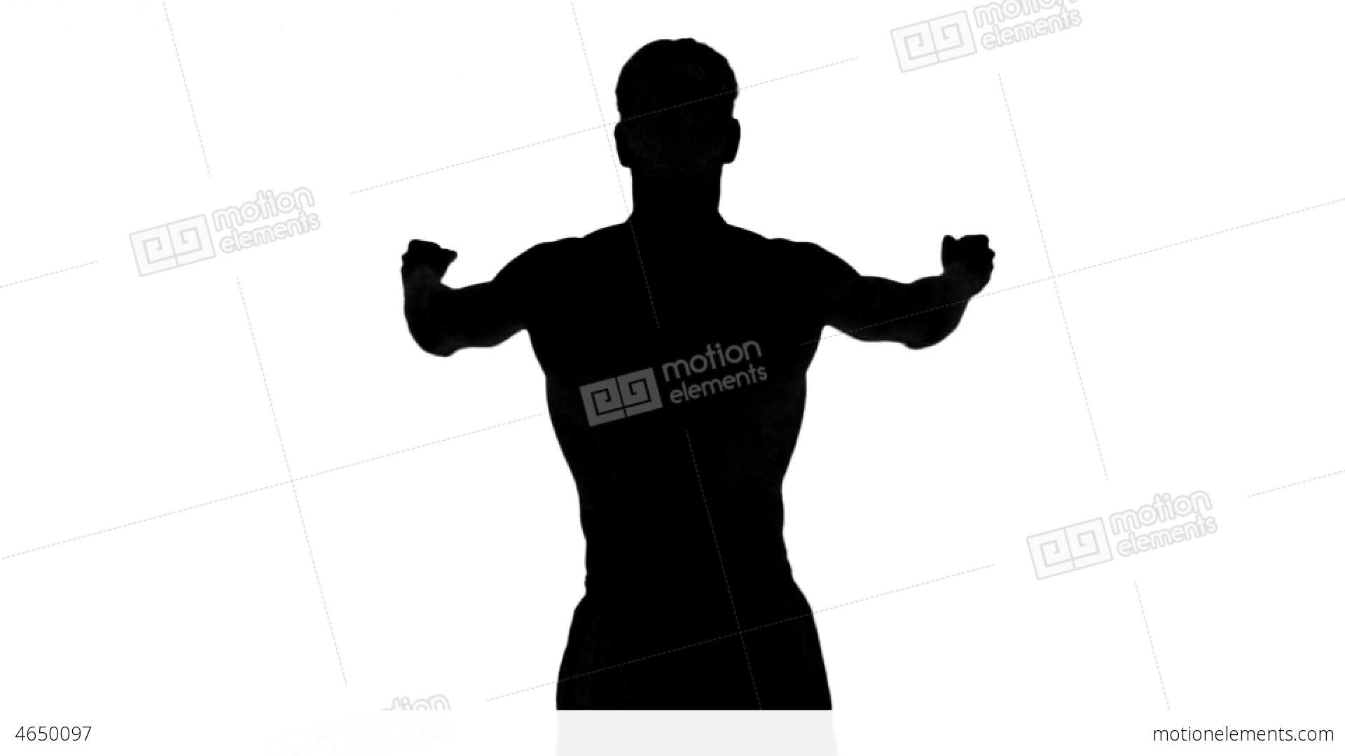 1920x1080 Silhouette Of A Man Stretching Arms On White Backg Stock Video