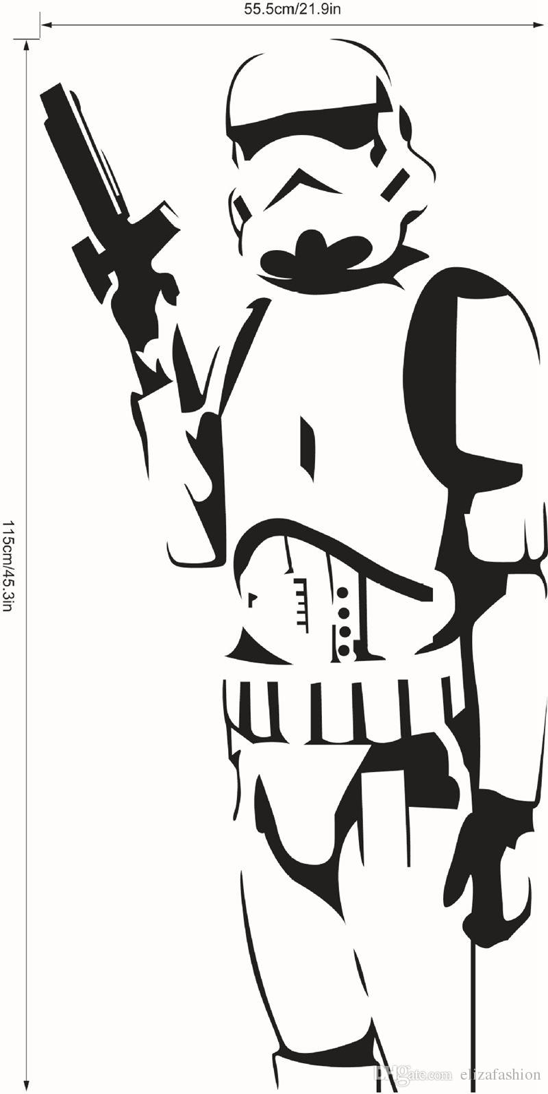 800x1597 Star Wars Large Wall Decals Silhouette Diy Home Decoration Mural