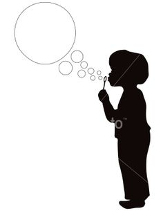 236x305 Vector Silhouette Of Small Boy Blowing Bubbles Small Boy