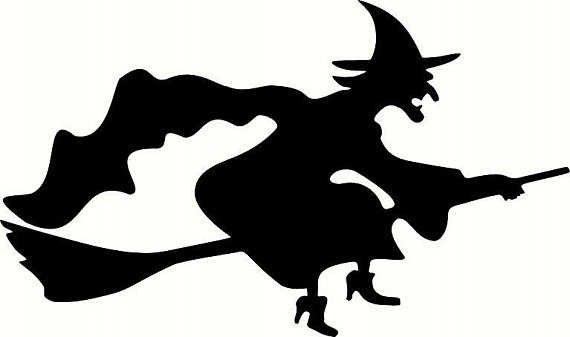 570x337 Wall Decal Flying Witch Silhouette D2 Halloween Decal