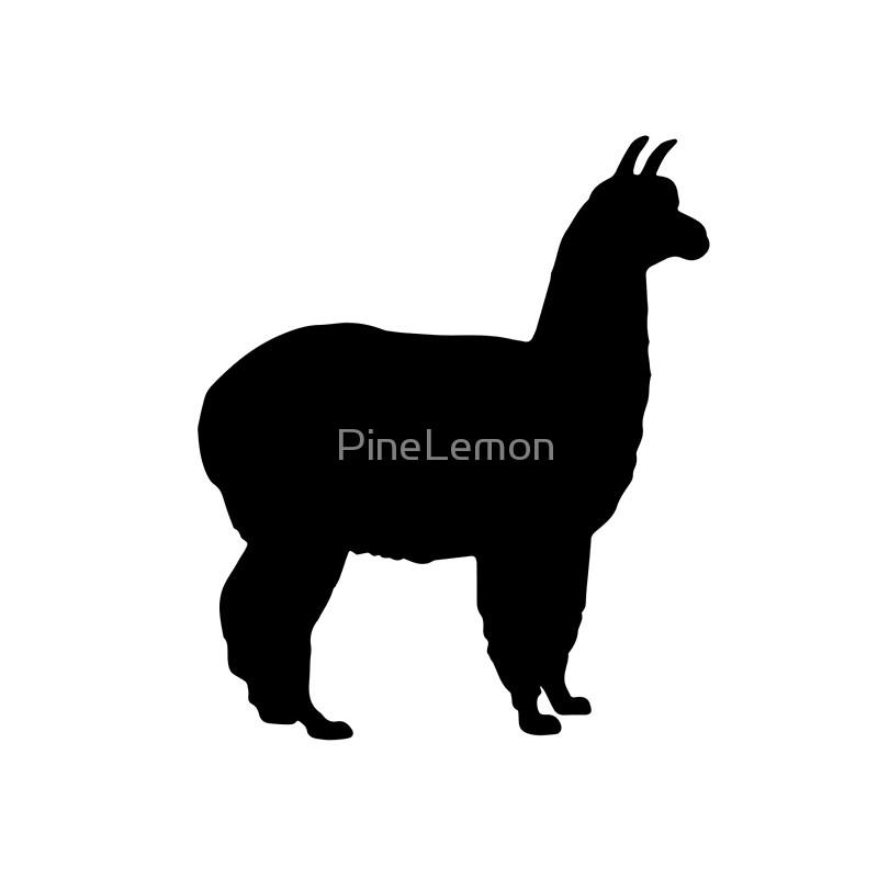 800x800 Alpaca Llama Silhouette Black Animal Tote Bags By Pinelemon