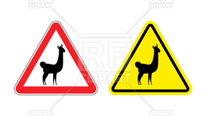 400x227 Red And Yellow Triangular Attention Sign With Silhouette Of Lama