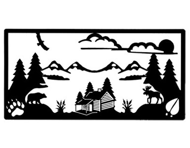 385x300 Solid Wrought Iron Wall Art Log Cabin