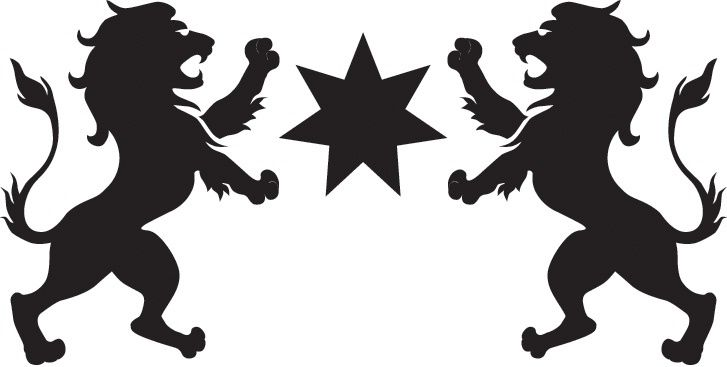 727x367 Star,7 Point Between 2 Lions,rampant,silhouette Logo By Colonial