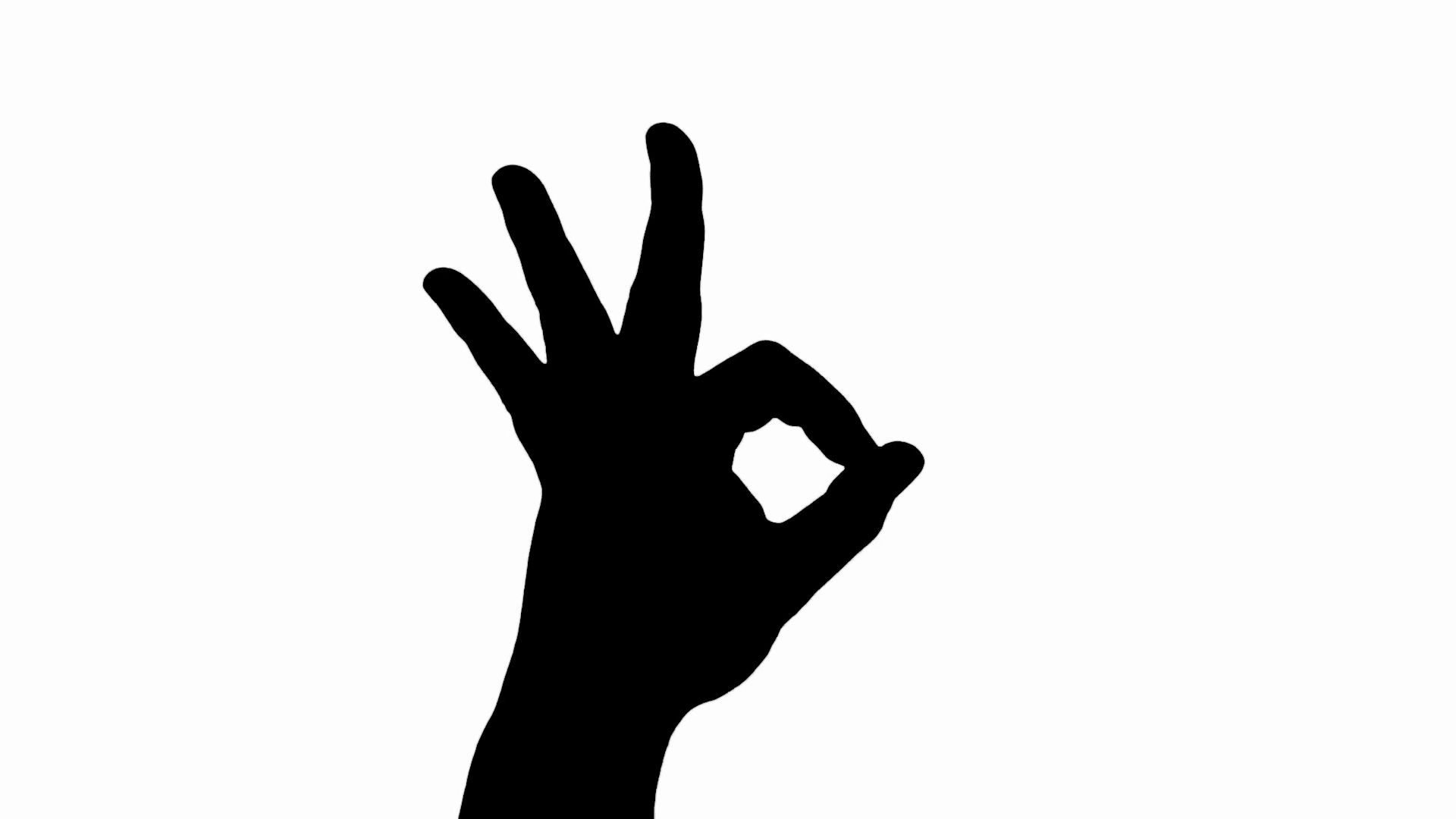 1920x1080 Silhouette Hand Gesturing Ok Sign Isolated On White Stock Video