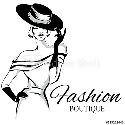 500x500 Fashion Boutique Logo With Black And White Woman Silhouette Vector