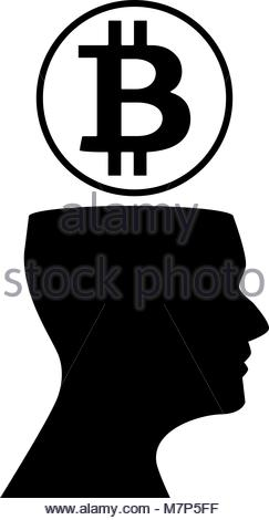 243x470 Human Head Silhouette With Sign Of Bitcoin Above On Shiny Golden