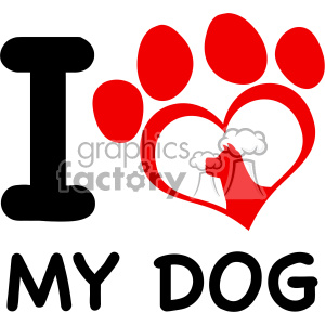 300x300 Royalty Free 10706 Royalty Free Rf Clipart Red Heart Paw Print