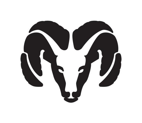 570x492 Black White Clipart Ram Head Silhouette