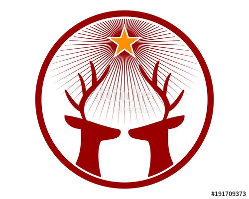 500x400 Star Deer Head Reindeer Deer Elk Stag Image Vector Icon Logo