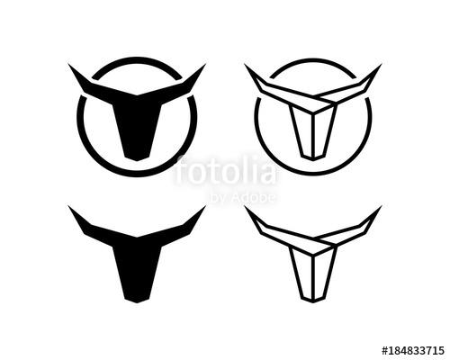 500x400 Black Line Art Head Bull With Horn Illustration Simple Logo
