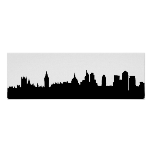 512x512 London Skyline Silhouette Cityscape Poster London Skyline
