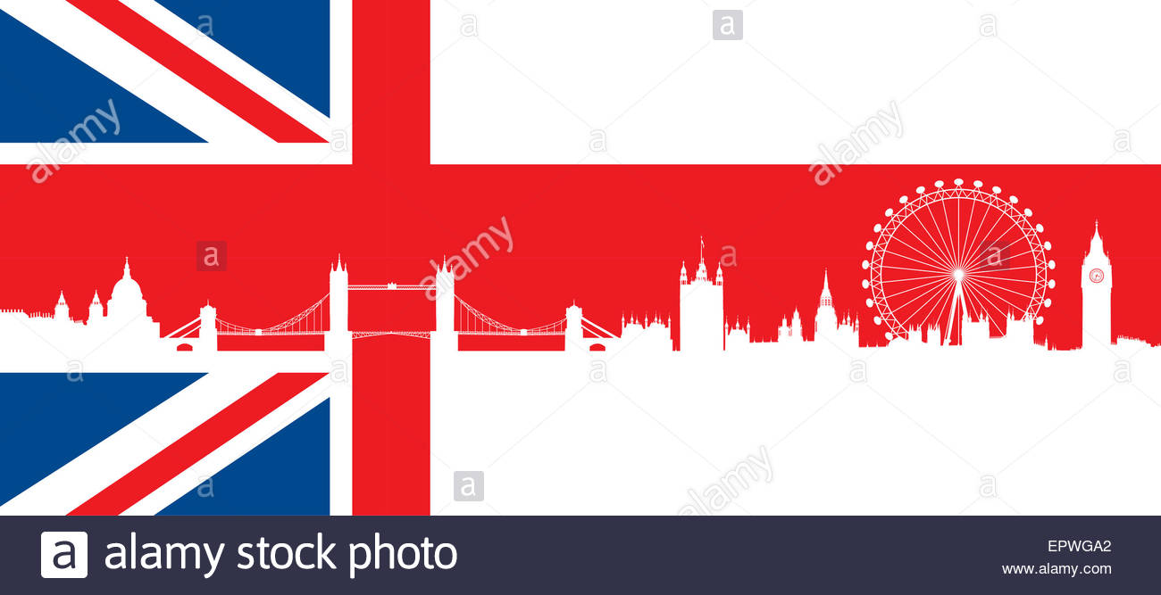 1300x667 British Flag With Very Detailed Silhouette London Skyline Stock