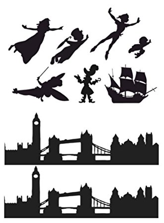 331x450 Peter Pan, Wendy, London Skyline Silhouette Edible Icing Decor