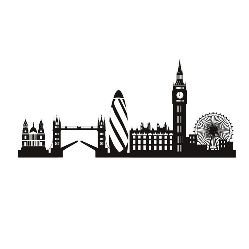 1000x1000 High Quality Morden City Silhouette Wall Sticker London Big Ben