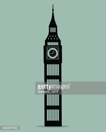 371x463 Big Ben London Black Silhouette Vector Illustration Stock Vectors