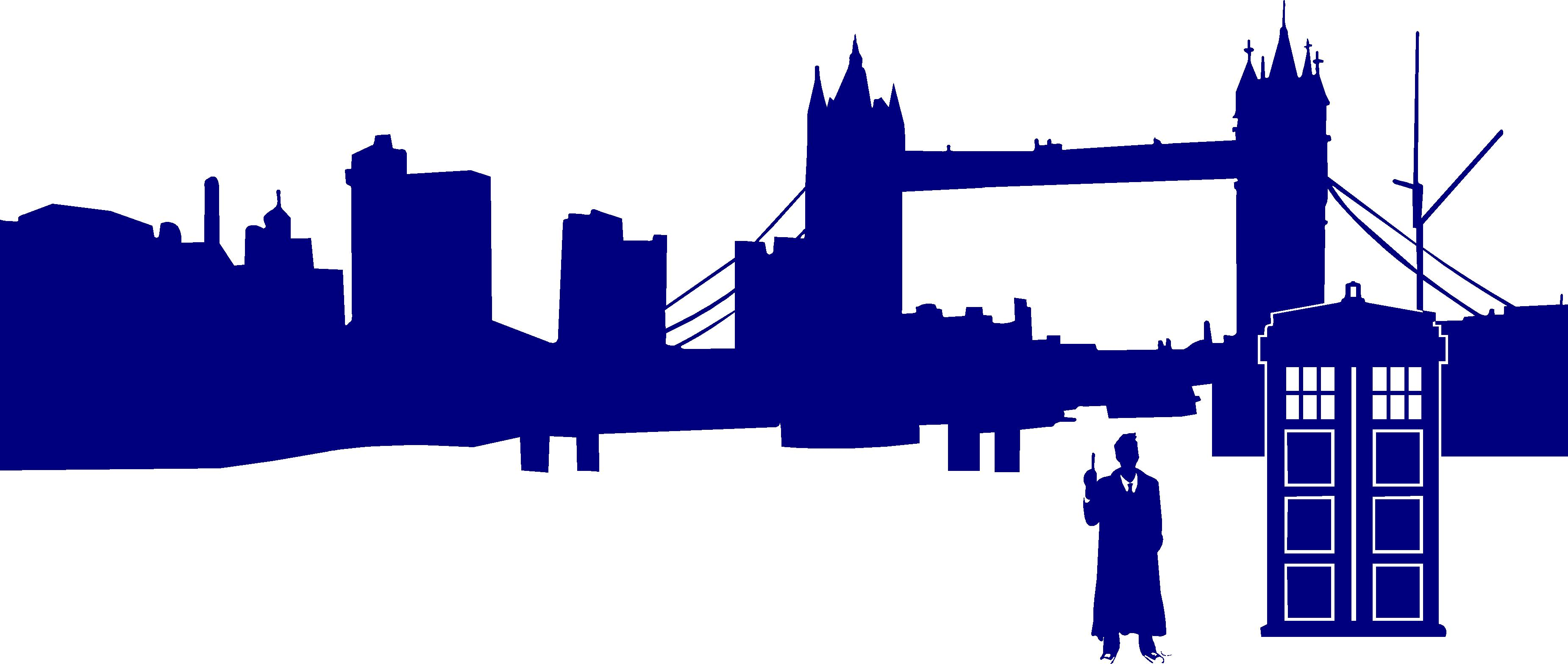 3700x1568 Doctor Who In Front Of London Silhouette Stickit! Stickers Amp Decals