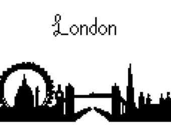 340x270 London Skyline Rubber Stamp