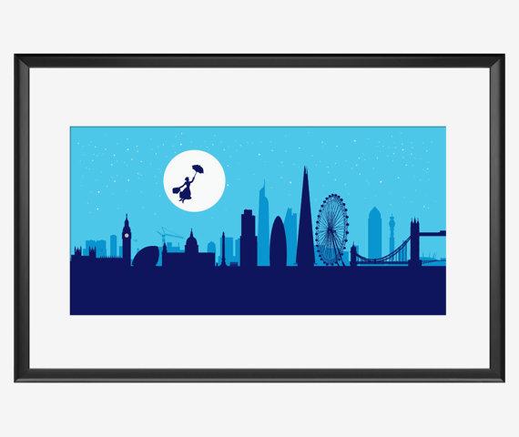 570x480 London Skyline Print London Art London Print London