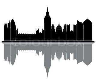 320x280 London England City Skyline Silhouette. Vector Illustration