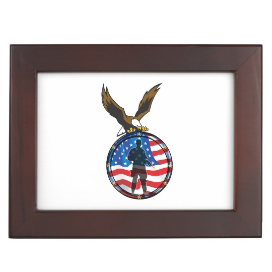 540x540 Silhouette Of A Lone Soldier With Bald Eagle Memory Box