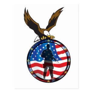 307x307 Flag With Soldier Silhouette Cards