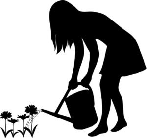 300x283 Girl Silhouette Gardening Clipart Image