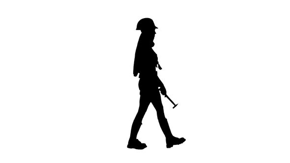 590x332 Girl With Long Hair Carries A Hammer. Silhouette By Kinomaster