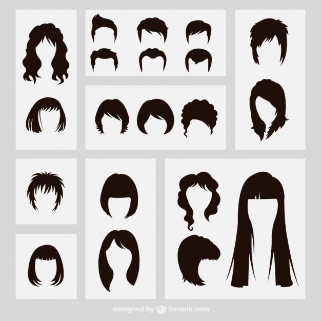 626x626 Hairstyles Silhouettes Vector Free Download