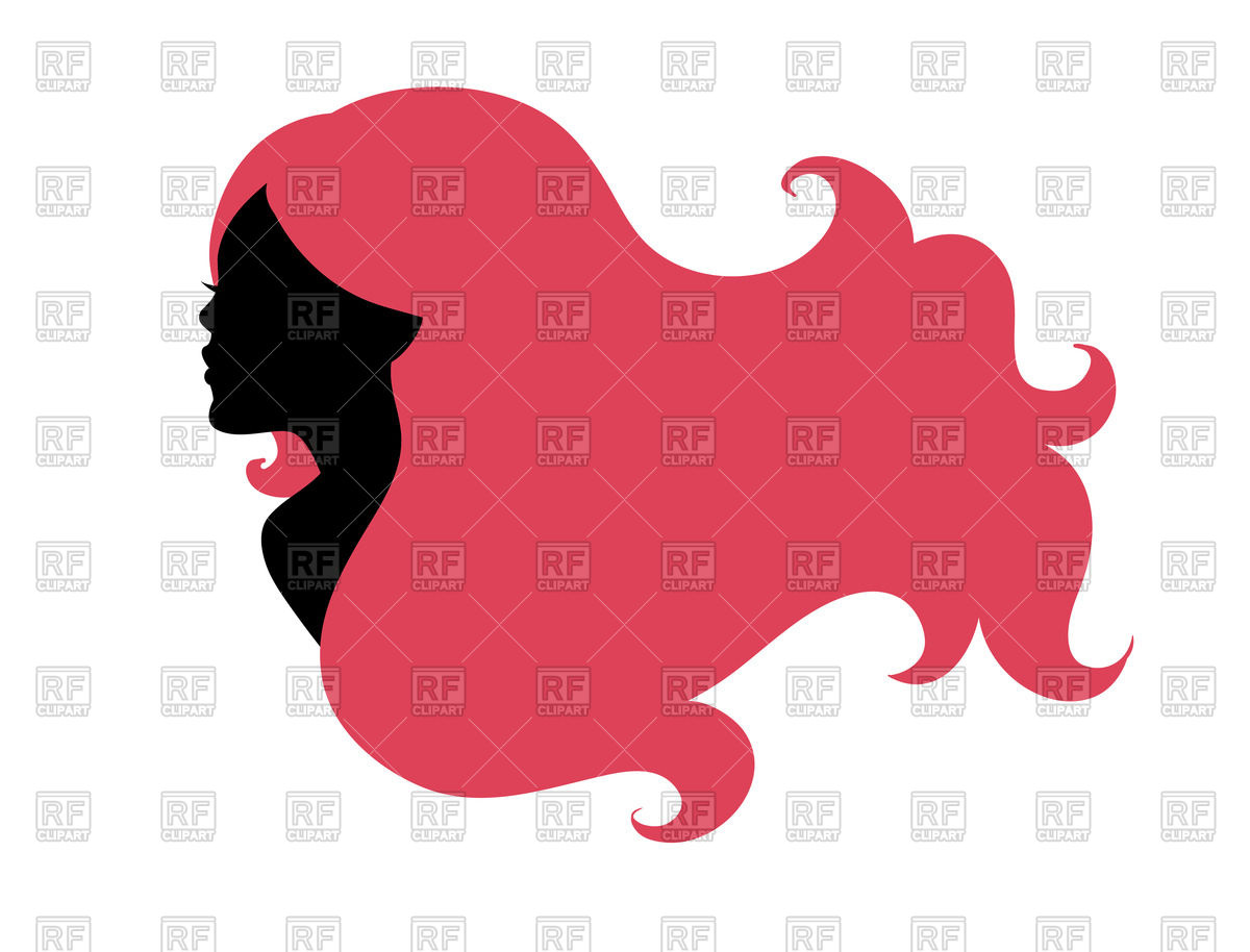 1200x914 Beautiful Woman's Silhouette With Long Pink Hair Royalty Free