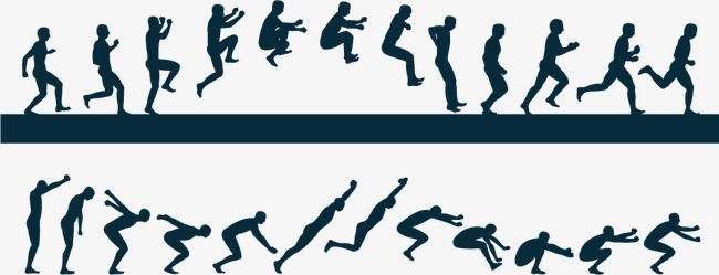 650x249 Long Continuous Action Silhouette Vector Material Download,, Long