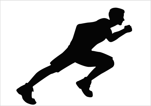 501x352 Long Jump Starting Position Silhouette Graphics Sports Vector