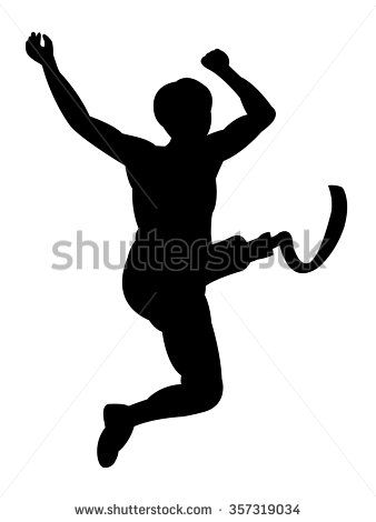 338x470 The Silhouette Of The Person With A Disability Long Jump Player