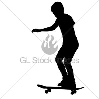 325x325 Skateboarders Silhouette. Vector Illustration. Gl Stock Images
