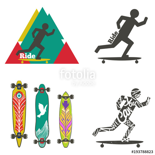 500x500 Vector Set Of Labels And Logos With Longboards. Silhouette Of Man