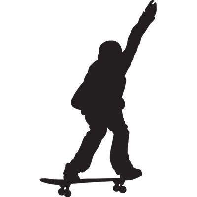 400x400 Wallhogs Skateboard Silhouette X Cutout Wall Decal Size 36 H X