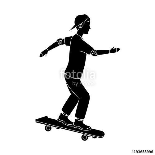 500x500 Boy On Skateboard Icon Vector Illustration Graphic Design Stock