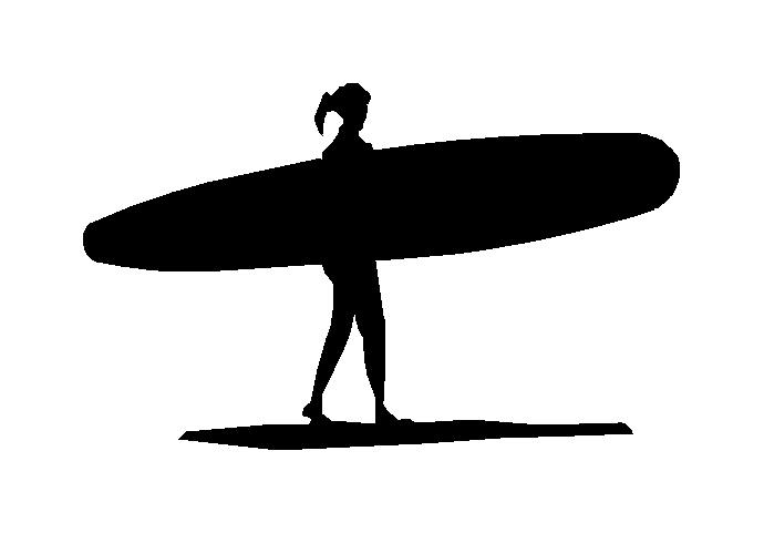 690x481 Girl Longboard Silhouette Decal [Gls001]