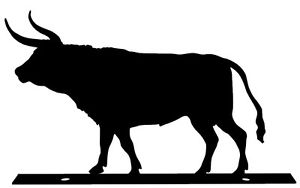 300x188 Texas Longhorn Silhouette Mailbox Topper Sign