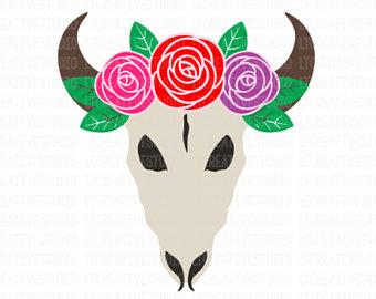 340x270 Floral Cow Skull Svg Etsy
